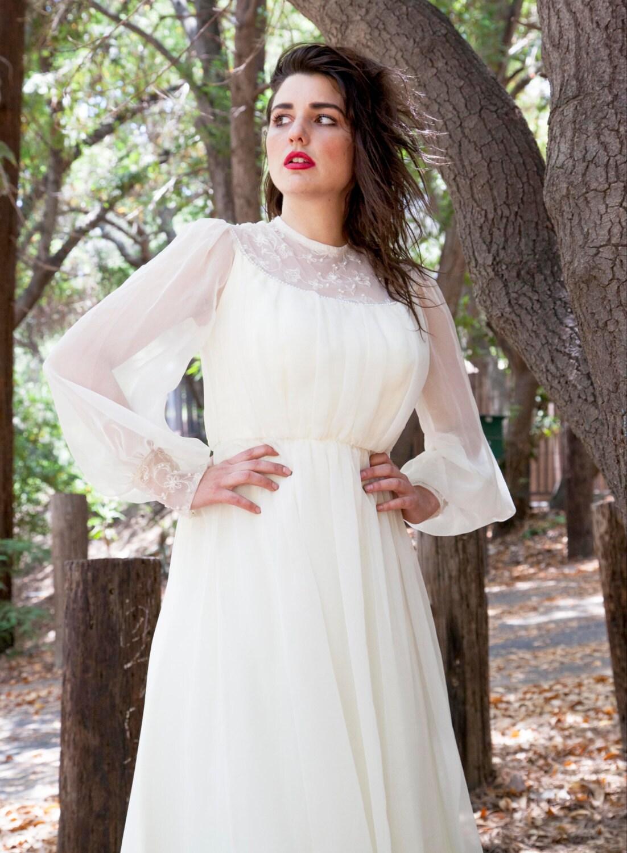 Victorian Style Cream Long Sleeve Dress
