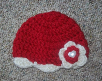 Hat,Baby,Girls,Infants,Photos,Gift,Shower,Red,Cream,Heart,Valentines Day,Crocheted