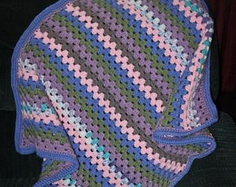 Baby,Toddler,Granny Stripe,Afghan,Blanket,Gift,Photo Prop,Shower,Infants,Pink,Blue,Green,Lavender,Babies,Crocheted