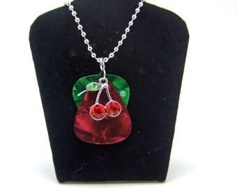 Guitar Pick Necklace, Cherries Necklace, Rocker Necklace, Rockabilly Necklace, Charm Necklace, Gifts Under 20, Unisex Necklace