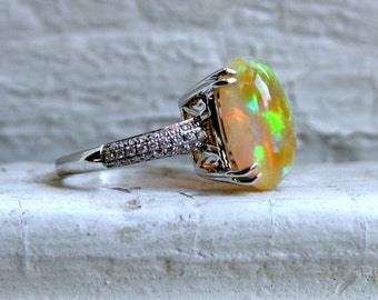 Vintage 14K White Gold Diamond and Opal Engagement Ring - 5.54ct.