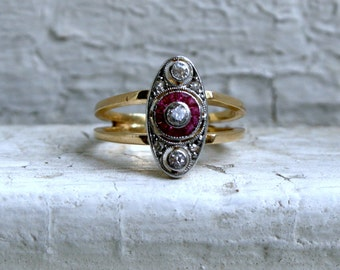 RESERVED - Art Deco Vintage 18K Yellow Gold/ Platinum Diamond and Ruby Engagement Ring.