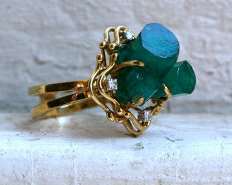 Vintage 14K Yellow Gold Emerald and Diamond Ring Engagement Ring - 10.12ct.