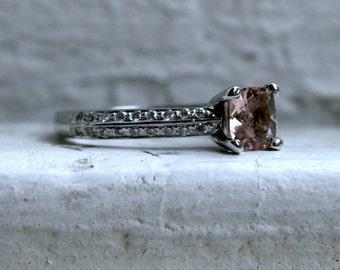 Vintage Platinum Morganite and Diamond Engagement Ring - 1.13ct.