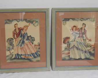 Vintage Southern Belle and Gentleman Framed Prints by Crane