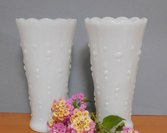 Milk Glass Vases, Set of 2 Teardrop White Glass Vases, Wedding Flower Vases, Wedding Decor