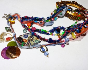 Bohemian Gypsy Upcycled Junk Jewelry Charm Silk Fiber 4Layer Long Necklace