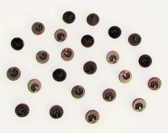 Set of 24 Victorian black glass buttons, small antique dress buttons