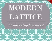 Custom Etsy Banner and Avatar Design Set - 11 Piece Modern Lattice Retro - msp -  DIY Template Geometric