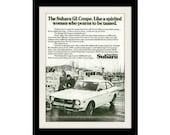 "1973 SUBARU GL Coupe & Woman Car Ad ""Tame"" Vintage Advertising Wall Decor Print"