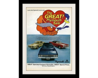 1969 PLYMOUTH Road Runner Car Ad, Vintage Advertisement Print
