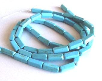 "Turquoise Magnesite Square Tube Beads, 15x5mm - 15"" Strand"