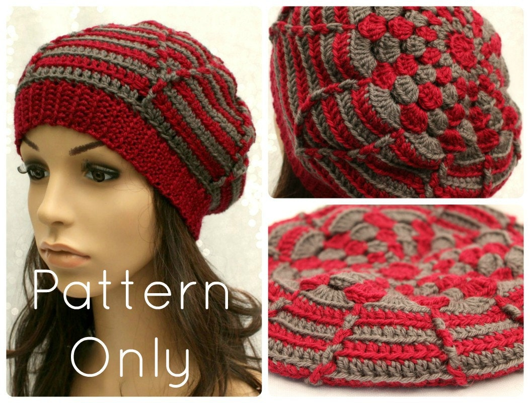 Crochet Beanie Pattern Striped : PDF Crochet Hat Pattern Womens Striped Abstract Flower Beanie