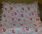 Pink Ribbon and Hearts breast cancer awareness fleece tie blanket