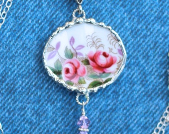 Necklace, Broken China Jewelry, Oval Pendant, Lavender Rose