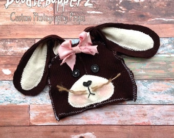 SALE - Bunny Hat, Easter, Rabbit,Natural, Chocolate, Brown, Upcycled Bunny Hat, Pink Detachable Bow, Unique Photo Prop, Newborn Photo Prop