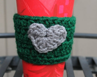 Hunter Green Coffee Cozy with Gray Heart