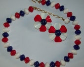 retro USA Patriotic red white & blue jewelry, TRIFARI beaded necklace, enamel flower earrings