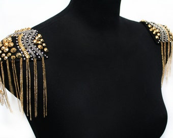 2 PCS Shoulders Pads Beaded and Studded Appliques for Fashion Crafts