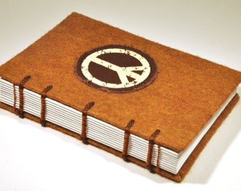 "Vintage Peace Sign Journal and Sketchbook - Handmade, coptic bound, felt and peace sign patch, 4 x 6"" size"