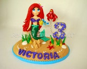 Ariel - Inspired Little Mermaid theme Cake Topper with name & number