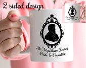 Jane Austen Mug, Darcy & Elizabeth Regency Silhouettes, Pride and Prejudice Mug, UK