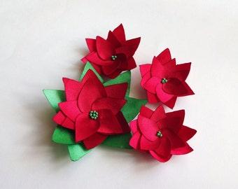 Red  or Snow White Satin Poinsettia Flowers Embellishment