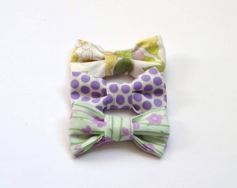 SALE 3 Cotton Yellow, Green and Purple Bows Embellishment