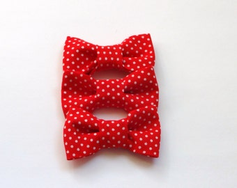 SALE 3 Red with White Polka Dot Cotton Bows Embellishment
