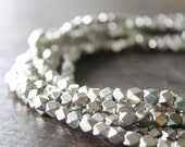 Indore Silver Medium Cornerless Cube Beads - 5mm Spacers - Sparkly Faceted Beads - Half Strand or Whole Strands Available