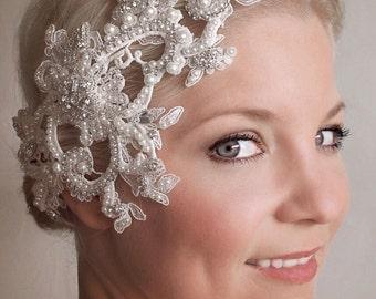 Wedding Hair Jewelry - Lace Bridal Headpiece - 1920s Bridal Headpiece -  The Lucinda lace head piece #326