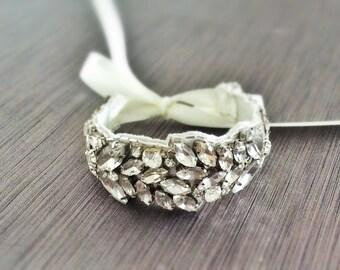 Wedding Bracelet, Bridal Bracelet, Bridesmaid Gift, Crystal Bracelet, Bridal Cuff, Nanna Bracelet