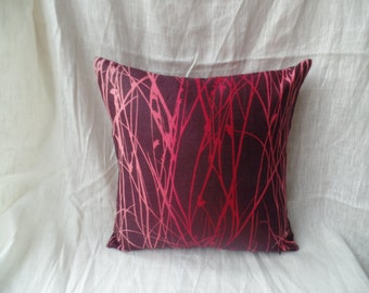 """Clearance Contemporary modern red, pink, purple, burgany grass effect 16"""" x 16"""" cushion cover, scatter cushion, pillow case"""