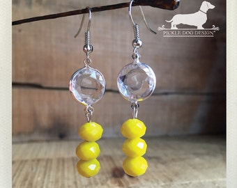 Lemon Ice. Dangle Earrings -- (Vintage-Style, Glass, Clear, Yellow, Sunny, Crystal, Sunshine, Bright, Neon, Summer, Gift for Her Under 15)