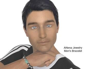 "Mens Bracelet:Hematite & Howlite ""Balanced And Complete"" , Handmade By ANena Jewelry"