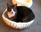 Chenille Knitted Kitty Bed PDF KNITTING PATTERN Cat bed, puppy bed.