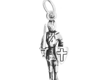 Sterling Silver Knight in Shining Armor Charm (3d Charm)