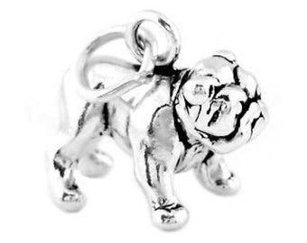 Sterling Silver Bulldog Charm (3d Charm)