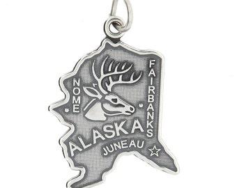 Sterling Silver Travel Map of Alaska Charm (Flat charm)