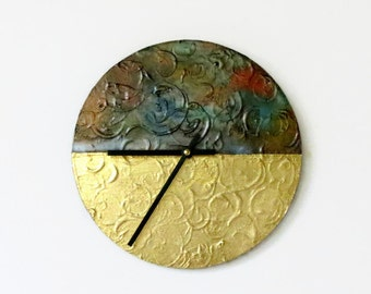 Wall Clock, Industrial Chic Home Decor,  Gold Leaf, Faux Metal Clock,Wood Clock,  Decor and Housewares,  Home and Living