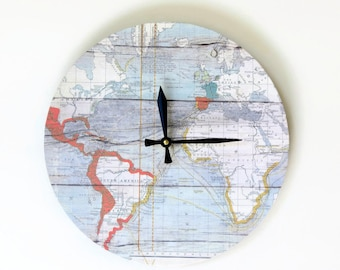 Unique Wall Clock Map Etsy Art Home And