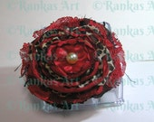 FABRIC ROSE flower  BROOCH hand made red leopard print