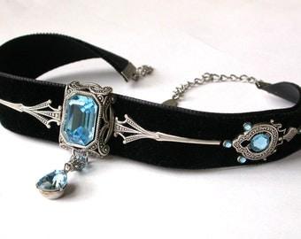 Black Velvet Choker Gothic Choker Victorian Aquamarine Swarovski Crystal Necklace Choker Gift for Women Gothic Victorian Jewelry