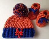 Ny mets hat and bootie set ny mets baby beanie baseball photo prop baby mets fan