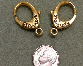 Antique Gold Color  Lobster Claw Clasp 2 Pieces