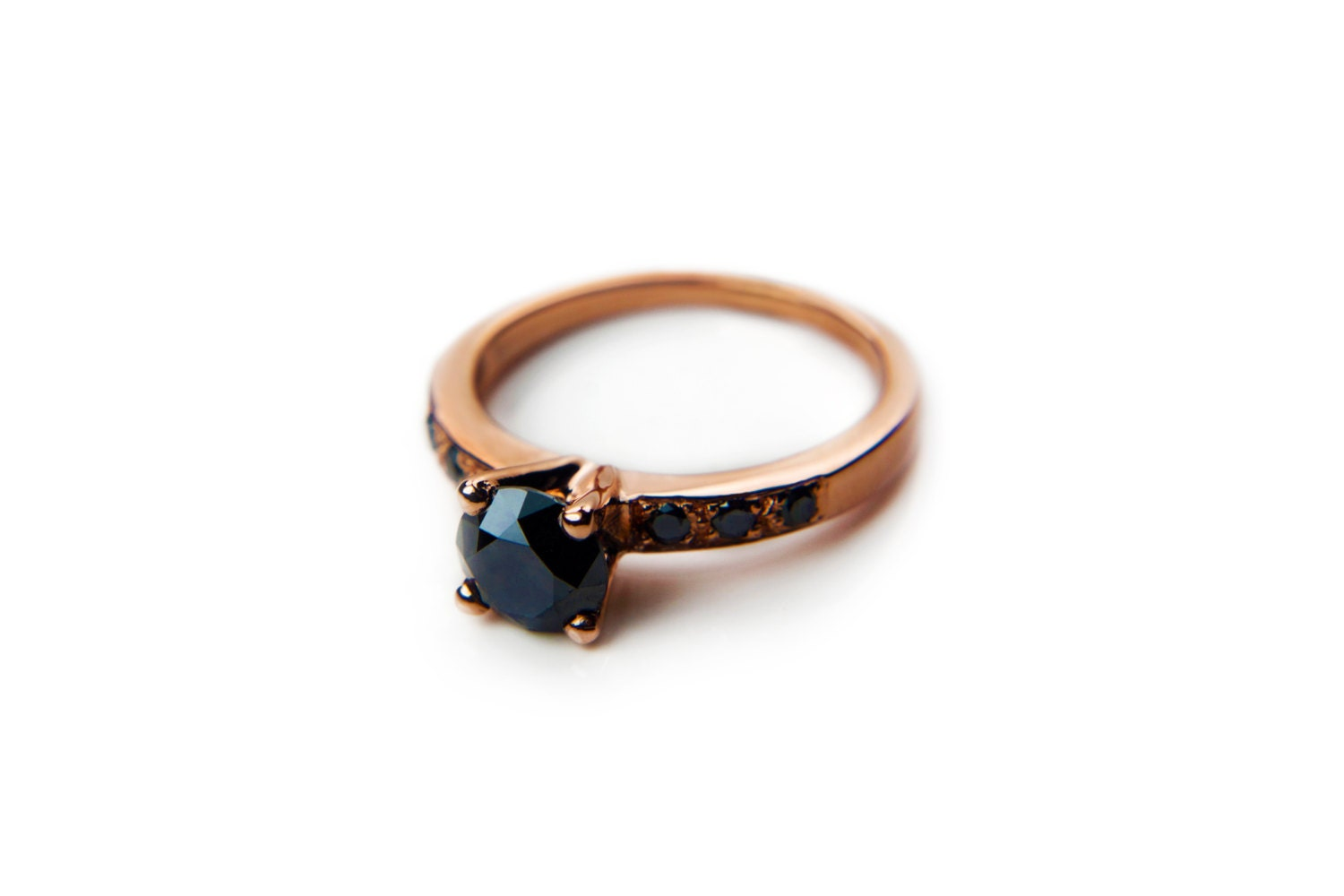 Rose gold black diamond engagement ring vintage by AltanaMarie