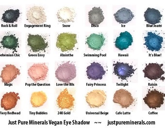 Choose 5 Vegan Eye Shadows - Cruelty Free Mineral Eye Shadow- 1.5g of product each in a 5g sifter jars