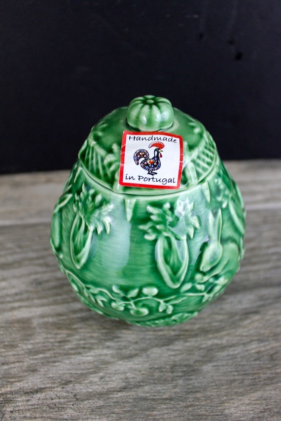 Vintage bordallo pinheiro sugar bowl with tag container with - Bordallo pinheiro portugal ...