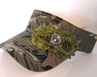 Camouflage Golf Sun Visor with Green Chiffon Flowers and Smokey Brown Accent Golf Hat Sun Hat Accessories Duck Dynasty