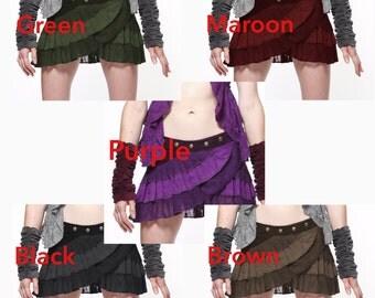 STEAMPUNK SKIRT - ASSORTED colours, psytrance skirt, Pixie skirt, ethnic skirt, goa Skirt, Elf Mini Skirt, Clfskog